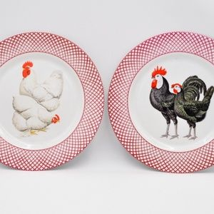 Set of 2 chicken dinner plates, Haldon Group